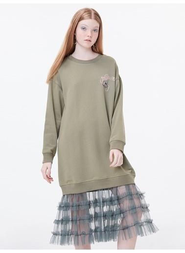 Twist Eteği Tül Mixli Göz Nakışlı Elbise Haki